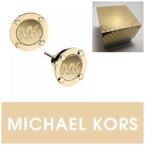 Michael Kors Logo Button Gold Tone Earring Studs